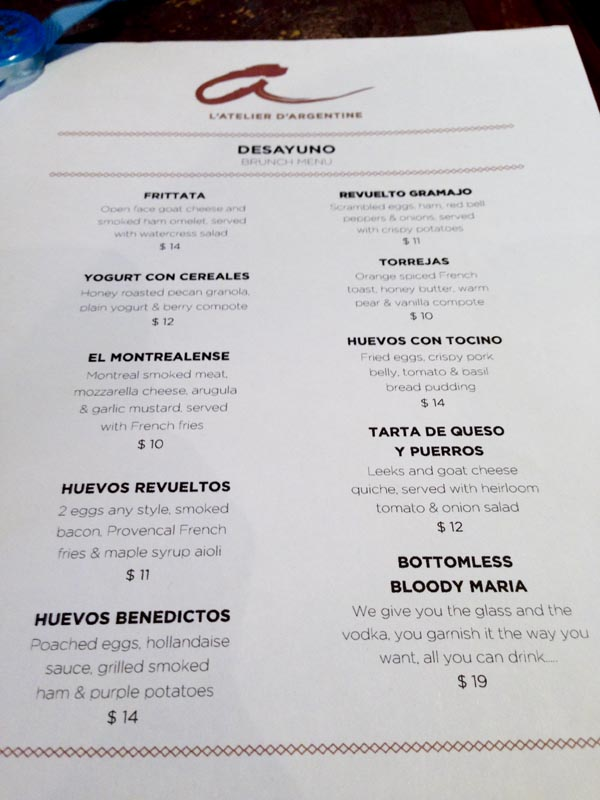 Menu At L Atelier D Argentine Roasted