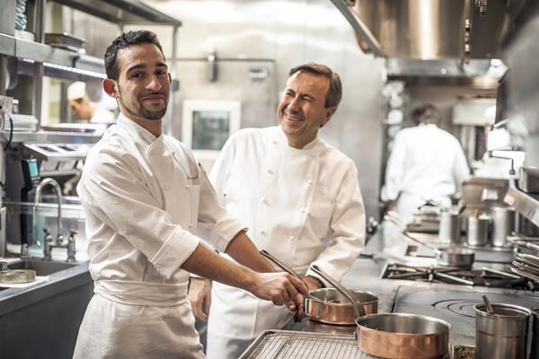 Chef Daniel Boulud and Chef Riccardo Bertolino at Miason Boulud in Montreal