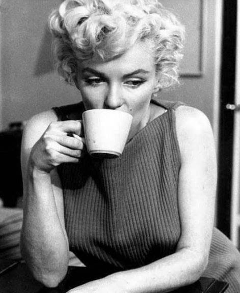 Marilyn drinking coffee
