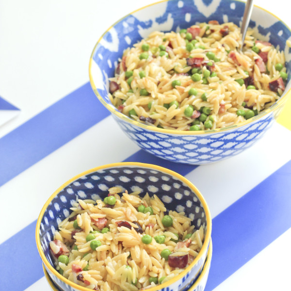 Family/Toddler Meal - Easy Orzo with Pancetta & Peas   RoastedMontreal.com