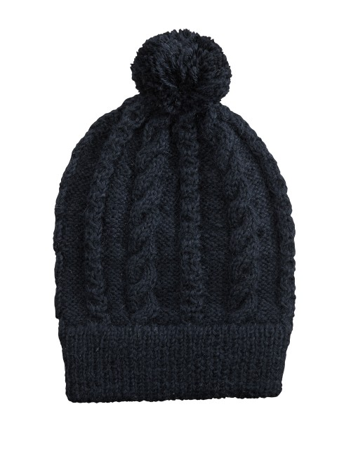 Alpaca Pom Pom Beanie in Black - The Little Market