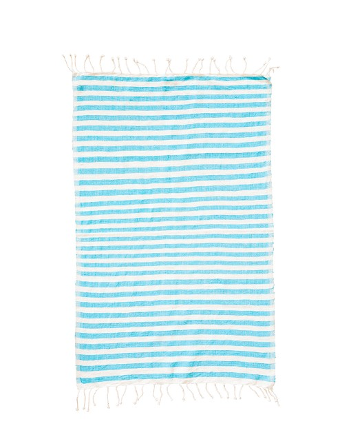 Striped Hand Towel in Turquoise - The Little Market