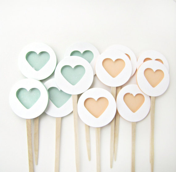 Peach and Mint Heart Cupcake Toppers by Kiwi Tini Creations