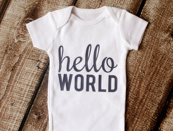 hello world onesie | Unisex Baby Gifts | RoastedMontreal.com