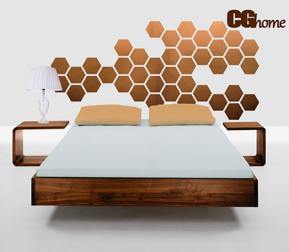 Copper Hexagon Honeycomb Wall Decal by CG home