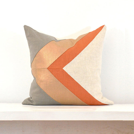 Arrow Metallic Colorblock Pillow Cover - Copper/Persimmon Combo from Celine and Kate