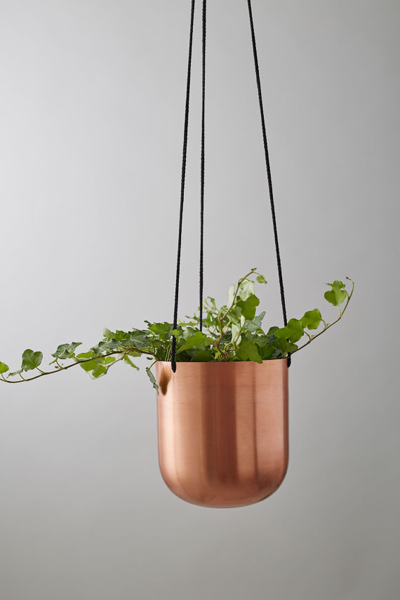 Copper Plant Hanger with Ivy from Geofleur