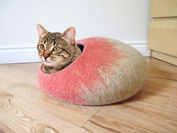 Felted Wool Cat Cave by Melena Studio