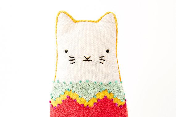 Fiesta Cat Embroidery Kit by Kiriki Press