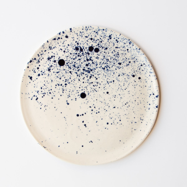 Large Plate of White and Cobalt Blue Porcelain Ink Spots from Chic & Basta