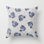 Blue Gray Floral Modern Vintage Pillow by Sandra Arduini Photo